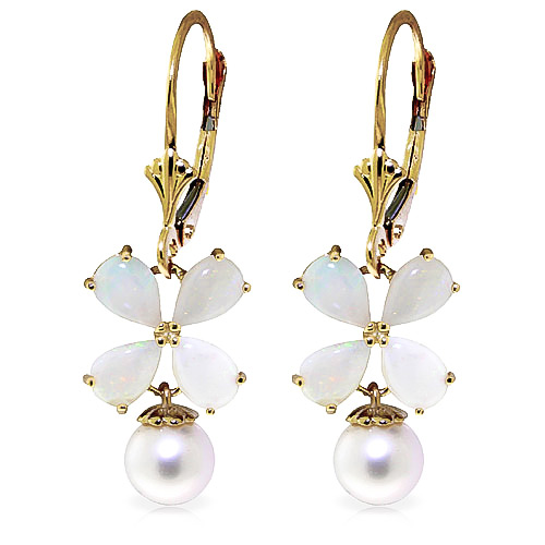 Opal and Pearl Drop Earrings 6.0ctw in 9ct Gold