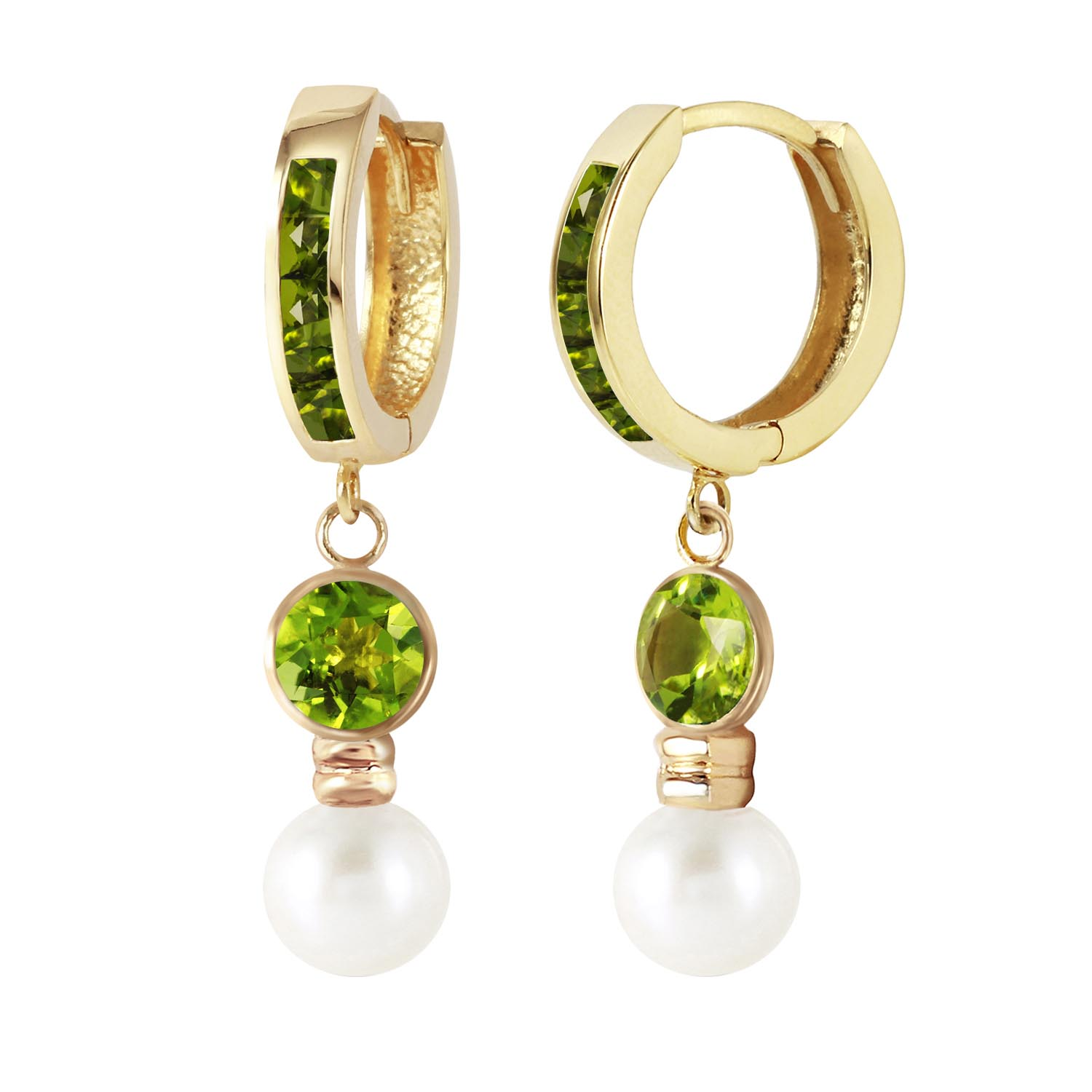 Peridot and Pearl Huggie Earrings 4.3ctw in 9ct Gold