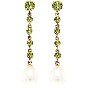 Peridot and Pearl by the Yard Drop Earrings 10.0ctw in 9ct Gold
