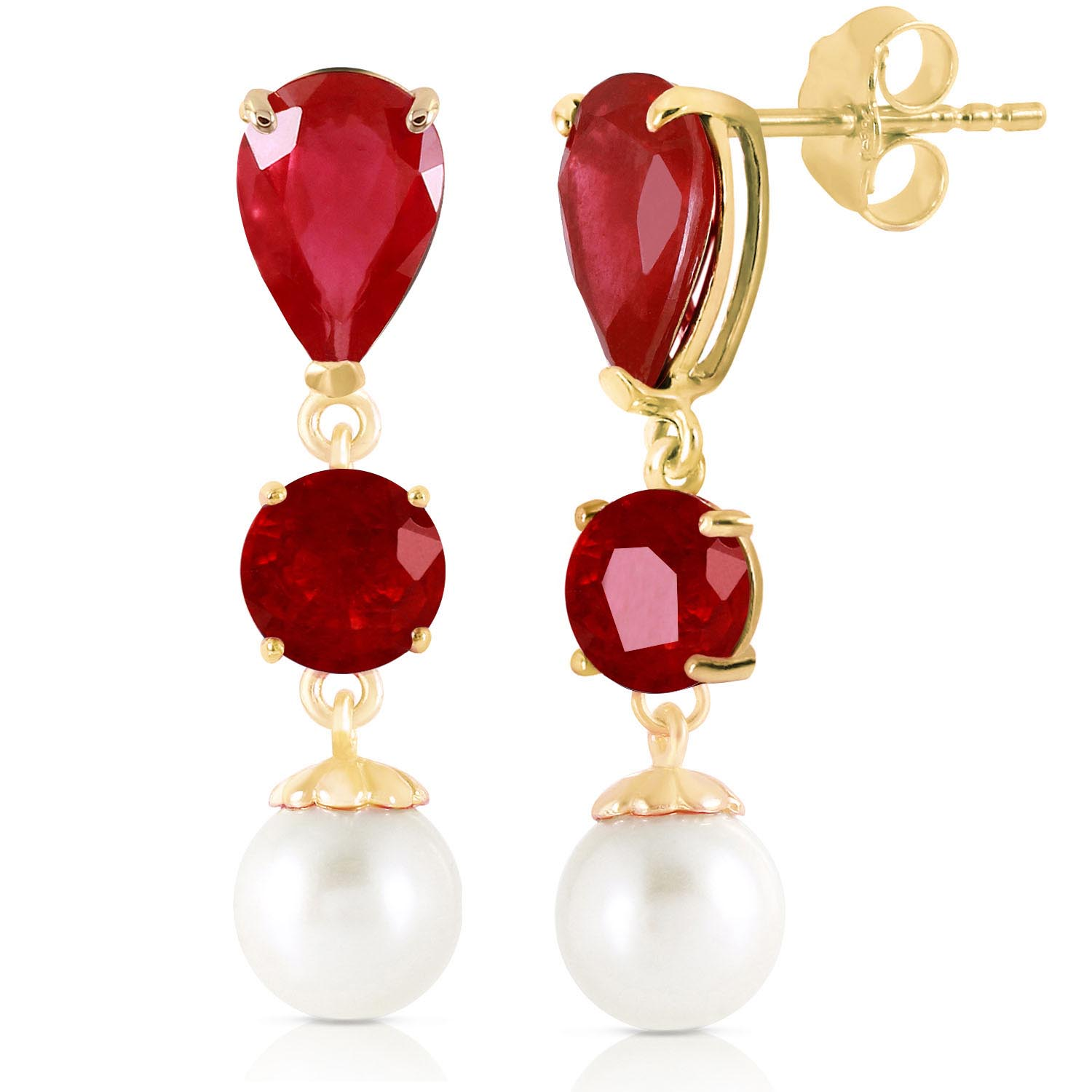 Ruby and Pearl Droplet Earrings 3.0ctw in 9ct Gold