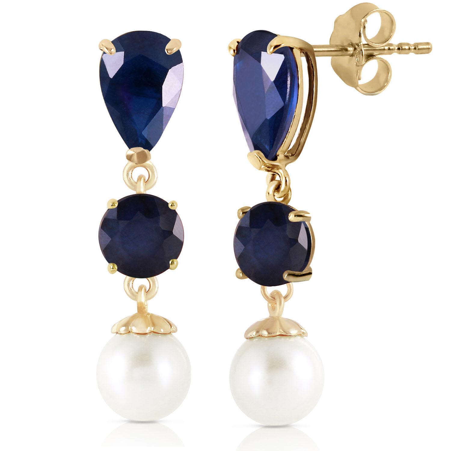 Sapphire and Pearl Drop Earrings 10.1ctw in 9ct Gold