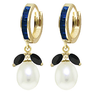 Sapphire and Pearl Dewdrop Huggie Earrings 1.3ctw in 9ct Gold