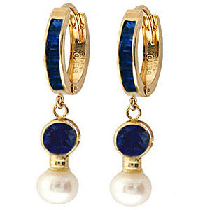 Sapphire and Pearl Huggie Earrings 4.65ctw in 9ct Gold