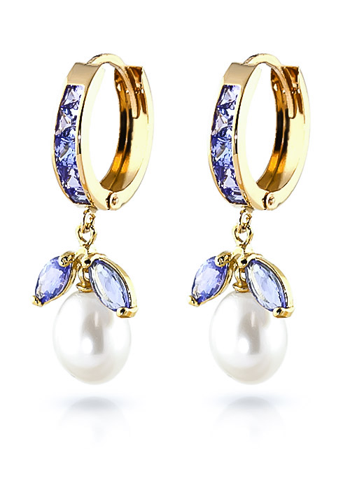 Tanzanite and Pearl Dewdrop Huggie Earrings 10.3ctw in 9ct Gold