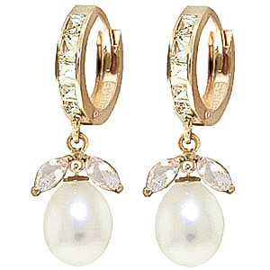 White Topaz and Pearl Dewdrop Huggie Earrings 10.3ctw in 9ct Gold