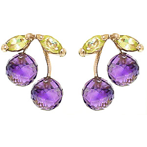 Amethyst and Peridot Cherry Drop Stud Earrings 2.9ctw in 9ct Gold