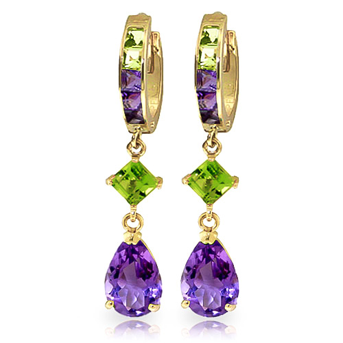 Amethyst and Peridot Huggie Earrings 5.37ctw in 9ct Gold
