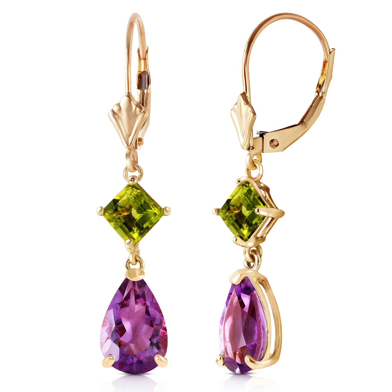 Amethyst and Peridot Droplet Earrings 4.5ctw in 9ct Gold