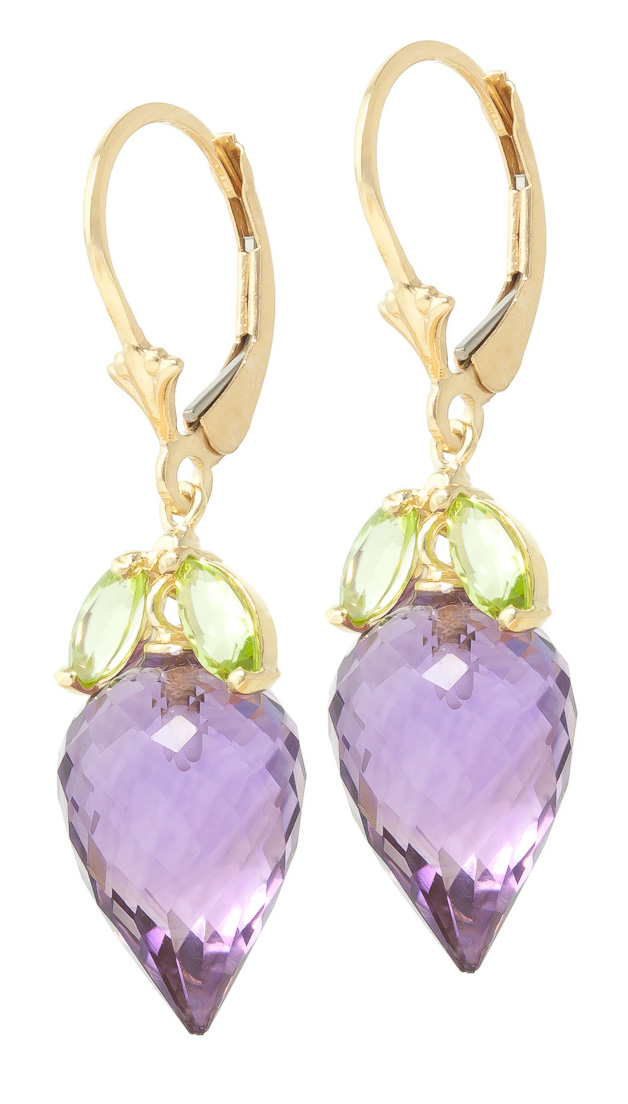 Amethyst and Peridot Drop Earrings 20.0ctw in 9ct Gold