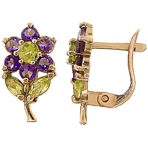 Amethyst and Peridot Flower Petal Stud Earrings 2.12ctw in 9ct Gold