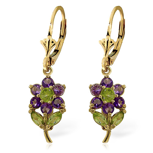 Amethyst and Peridot Flower Petal Drop Earrings 2.12ctw in 9ct Gold