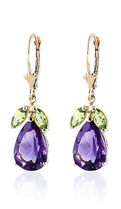 Amethyst and Peridot Drop Earrings 13.0ctw in 9ct Gold