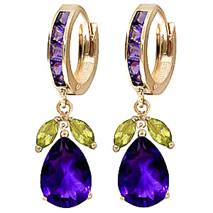 Amethyst and Peridot Huggie Drop Earrings 14.3ctw in 9ct Gold