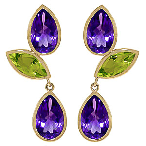 Amethyst and Peridot Petal Drop Earrings 13.6ctw in 9ct Gold
