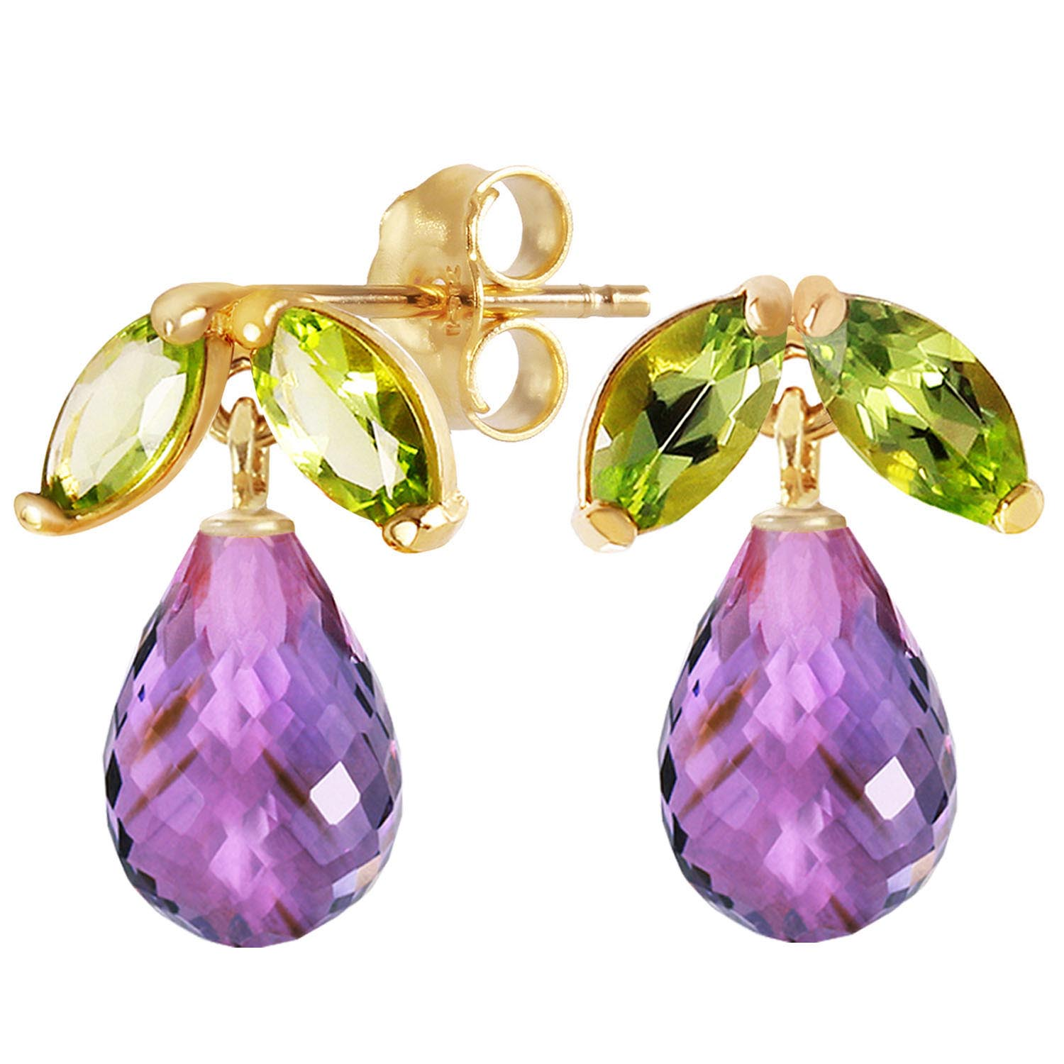 Amethyst and Peridot Snowdrop Stud Earrings 3.4ctw in 9ct Gold