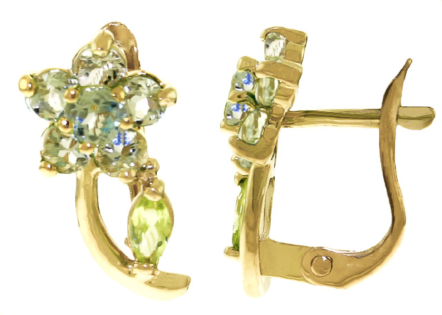 Aquamarine and Peridot Flower Stud Earrings 1.72ctw in 9ct Gold
