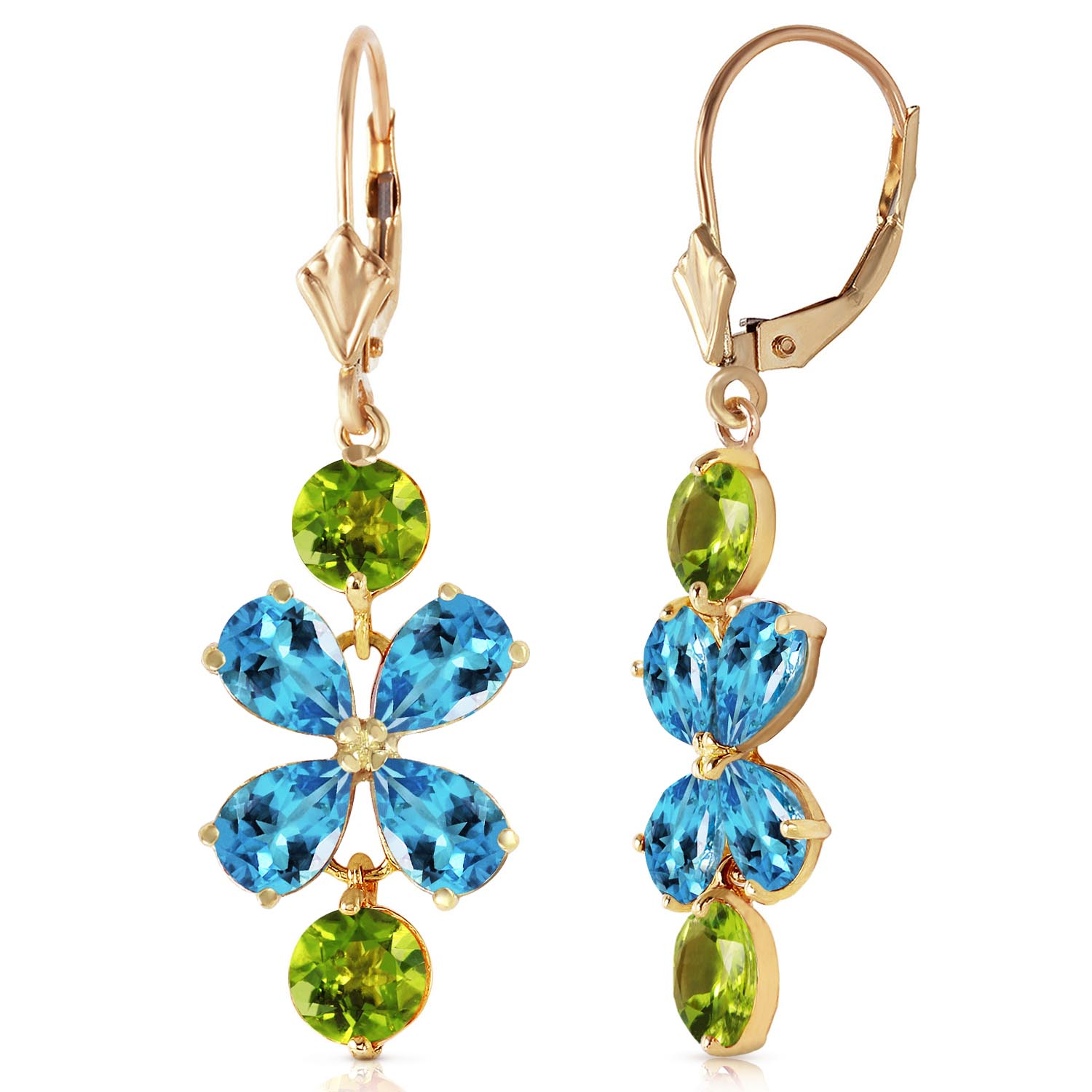 Blue Topaz and Peridot Blossom Drop Earrings 5.32ctw in 9ct Gold