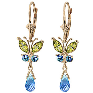 Blue Topaz and Peridot Butterfly Drop Earrings 2.74ctw in 9ct Gold