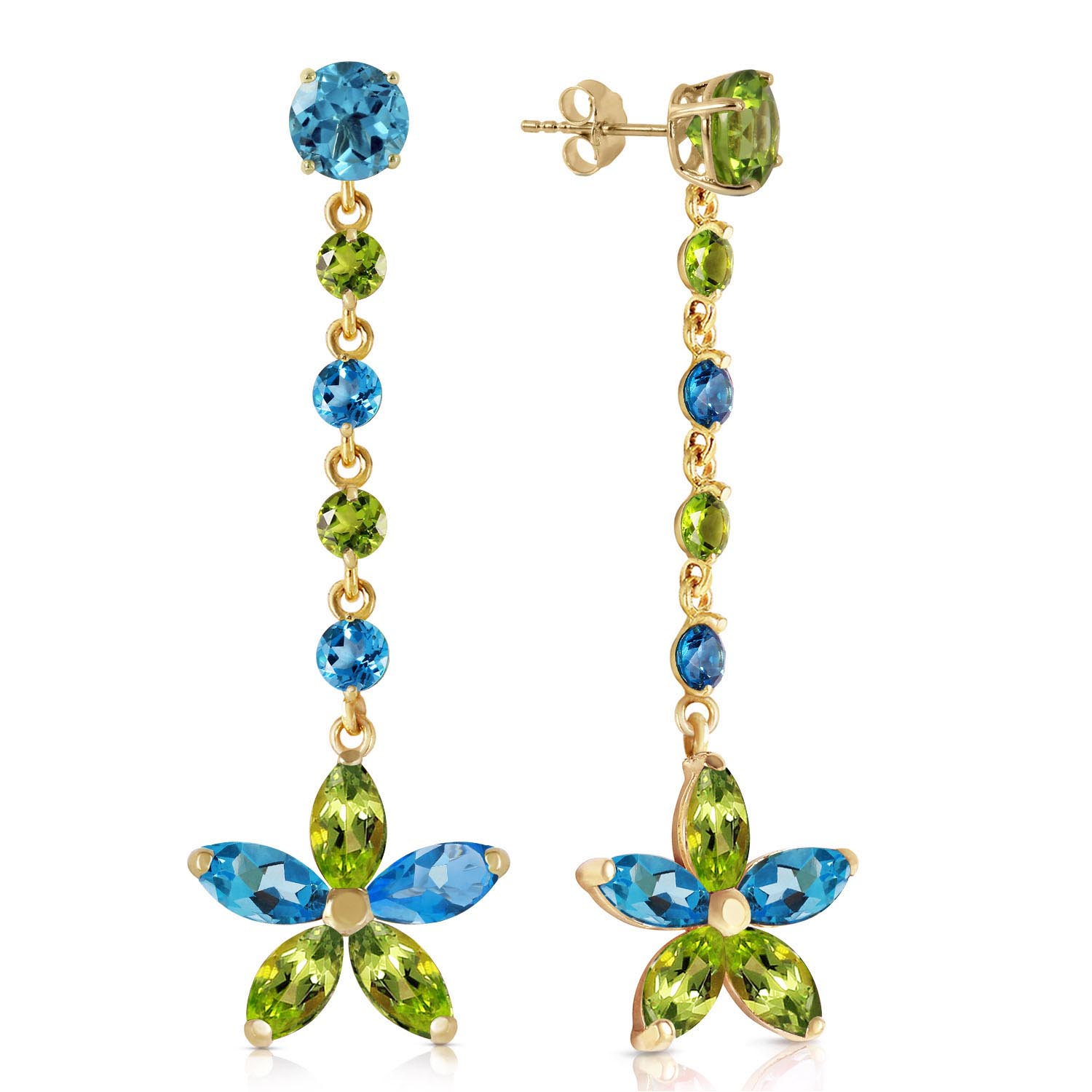 Blue Topaz and Peridot Daisy Chain Drop Earrings 4.8ctw in 9ct Gold