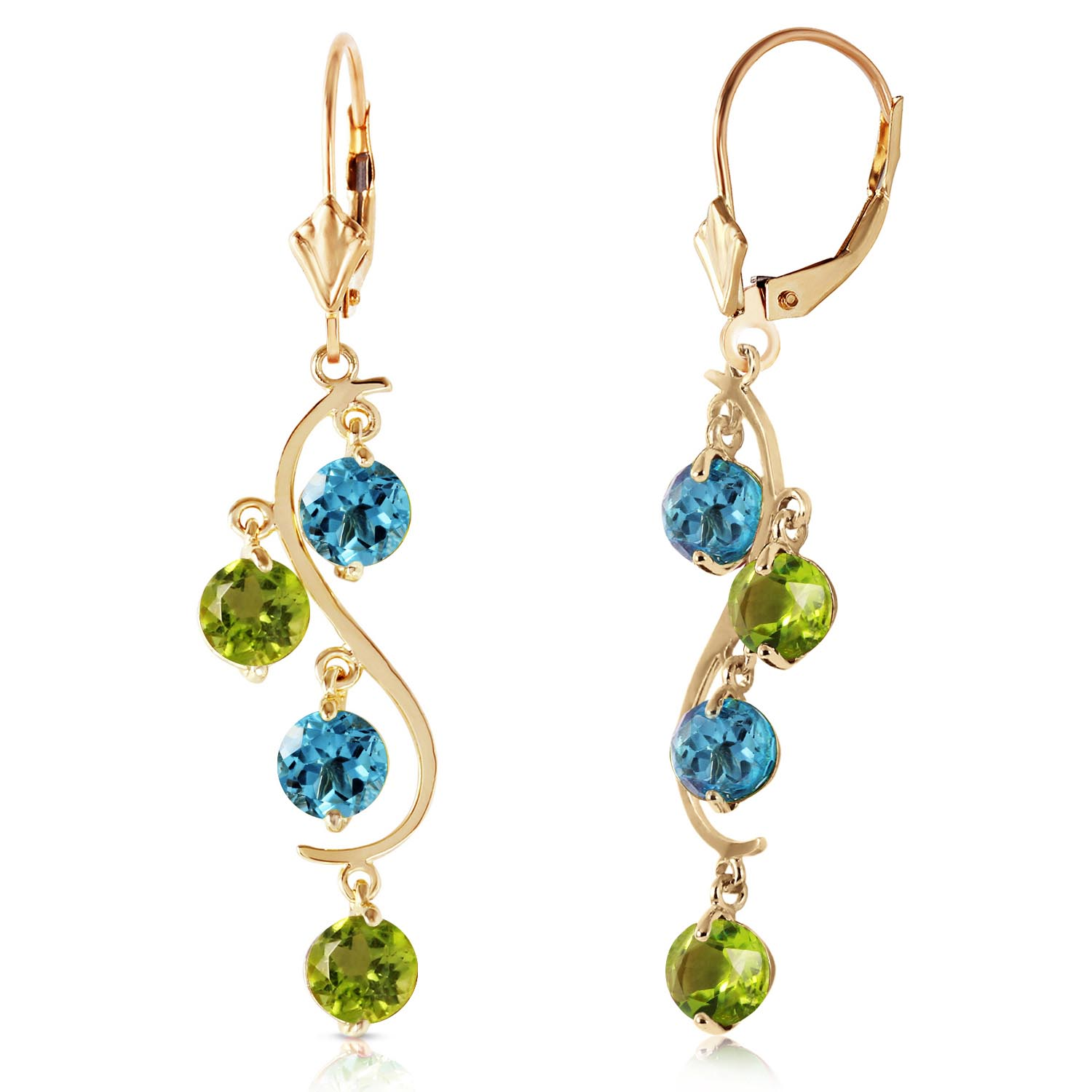 Blue Topaz and Peridot Dream Catcher Drop Earrings 4.94ctw in 9ct Gold