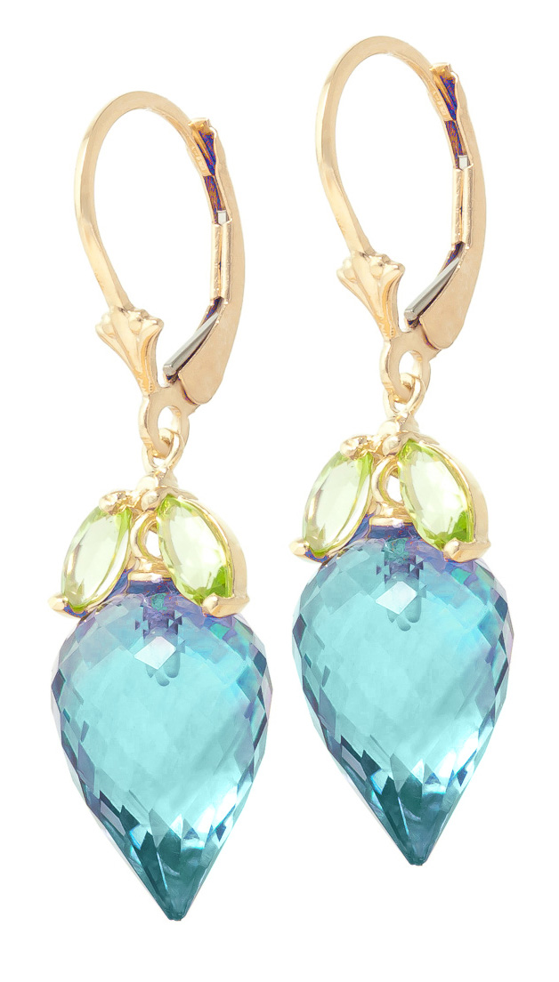 Blue Topaz and Peridot Drop Earrings 23.5ctw in 9ct Gold
