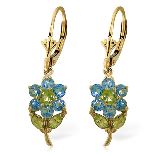 Blue Topaz and Peridot Flower Petal Drop Earrings 2.12ctw in 9ct Gold