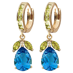 Blue Topaz and Peridot Huggie Drop Earrings 14.3ctw in 9ct Gold