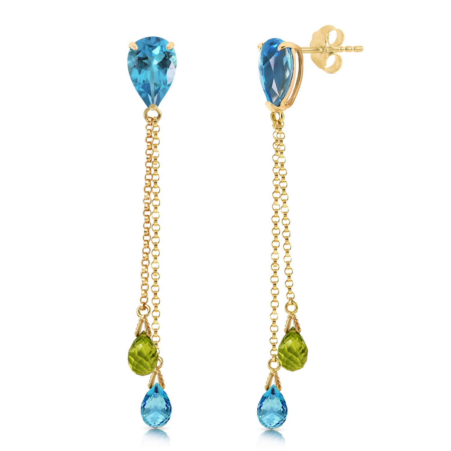 Blue Topaz and Peridot Droplet Earrings 7.5ctw in 9ct Gold