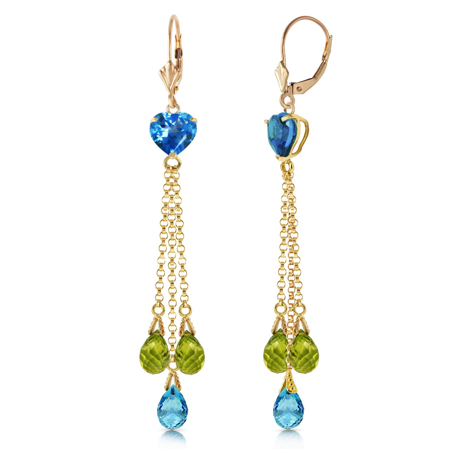 Blue Topaz and Peridot Vestige Drop Earrings 9.5ctw in 9ct Gold