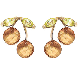 Citrine and Peridot Cherry Drop Stud Earrings 2.9ctw in 9ct Gold