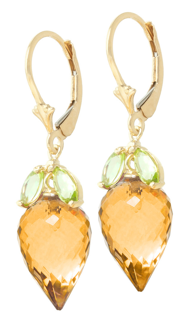 Citrine and Peridot Drop Earrings 20.0ctw in 9ct Gold