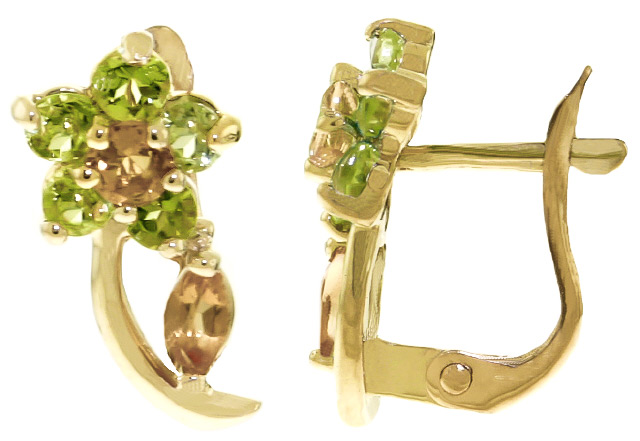 Citrine and Peridot Flower Stud Earrings 1.72ctw in 9ct Gold