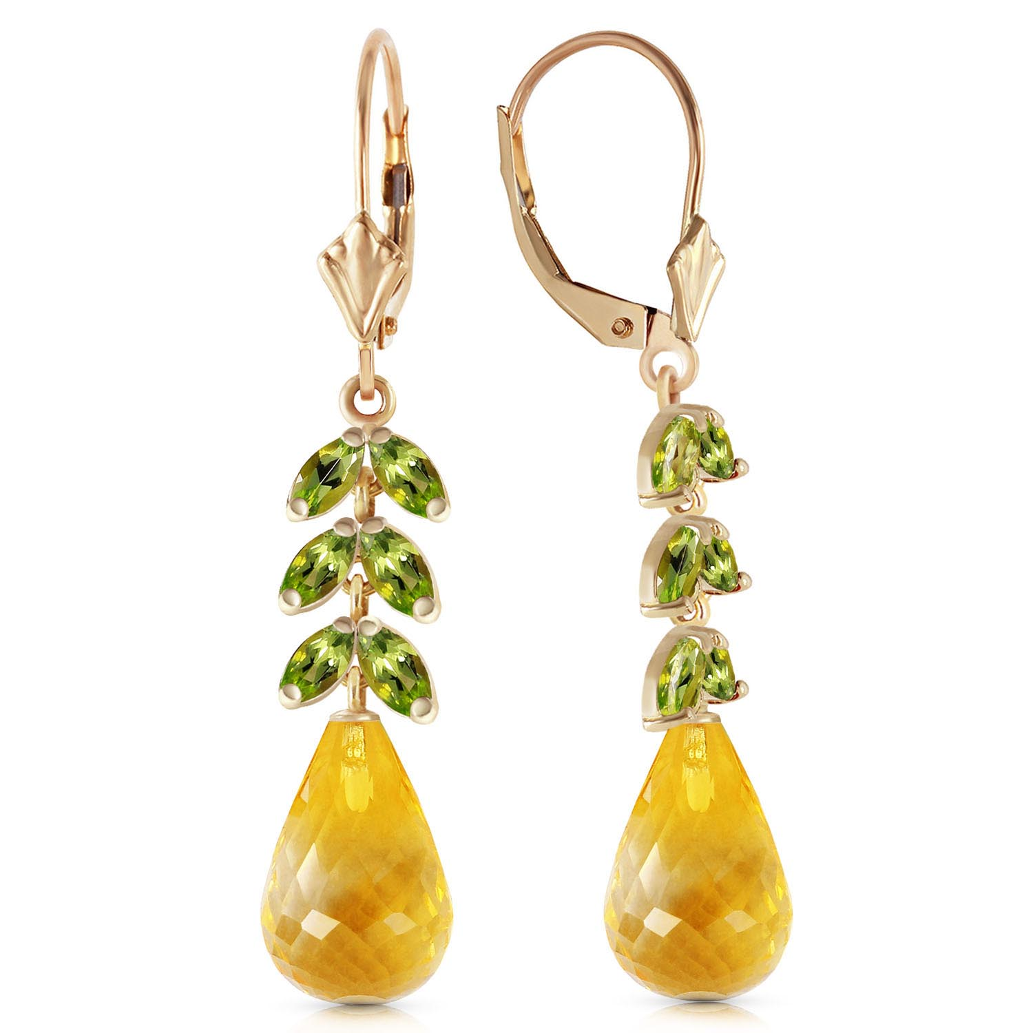 Citrine and Peridot Drop Earrings 11.2ctw in 9ct Gold