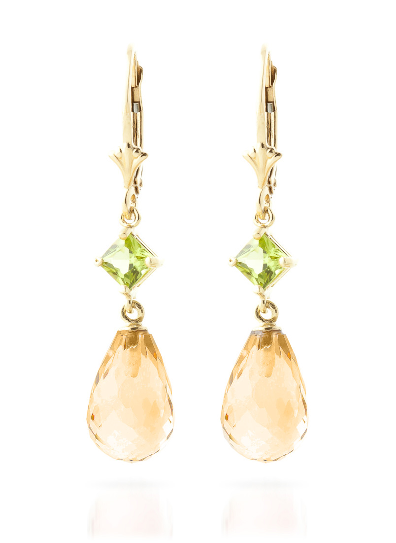 Citrine and Peridot Drop Earrings 11.0ctw in 9ct Gold