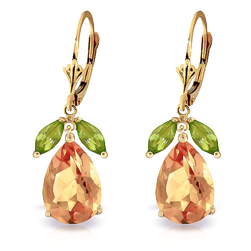 Citrine and Peridot Drop Earrings 13.0ctw in 9ct Gold