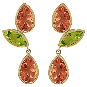 Citrine and Peridot Petal Drop Earrings 13.6ctw in 9ct Gold