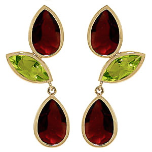 Garnet and Peridot Petal Drop Earrings 13.6ctw in 9ct Gold