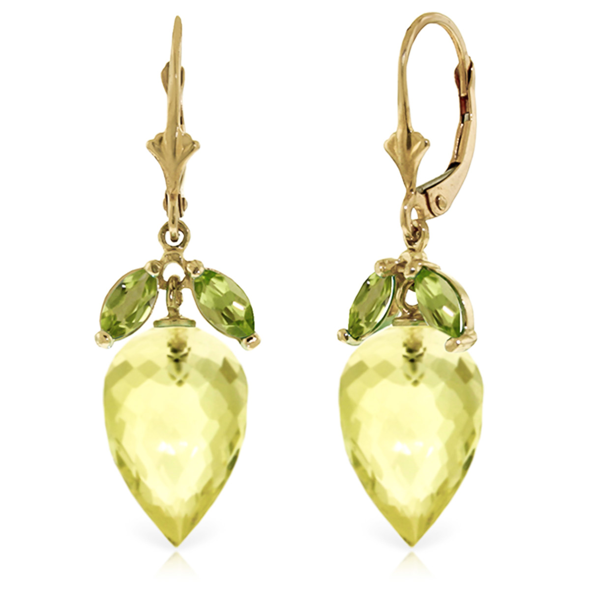 Lemon Quartz and Peridot Drop Earrings 19.0ctw in 9ct Gold