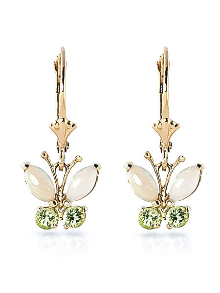 Opal and Peridot Butterfly Drop Earrings 1.39ctw in 9ct Gold