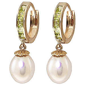 Pearl and Peridot Huggie Earrings 9.3ctw in 9ct Gold
