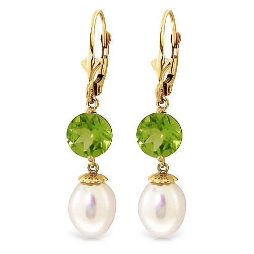 Pearl and Peridot Droplet Earrings 11.1ctw in 9ct Gold