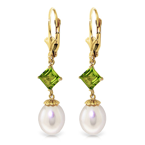 Pearl and Peridot Droplet Earrings 9.5ctw in 9ct Gold
