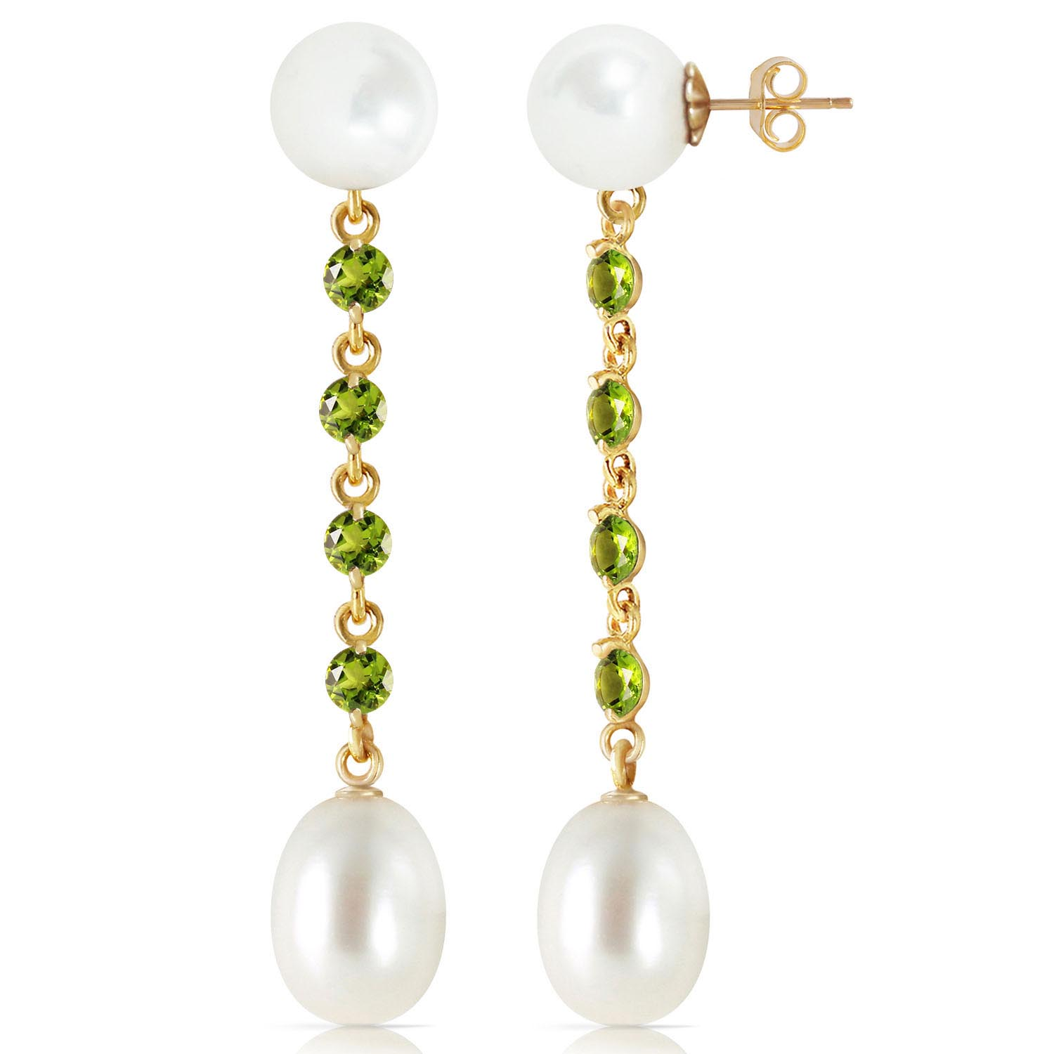 Pearl and Peridot by the Yard Drop Earrings 11.0ctw in 9ct Gold