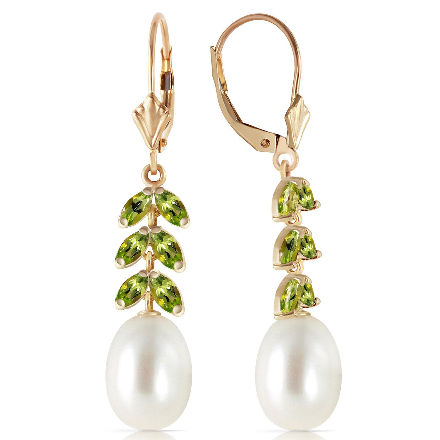 Pearl and Peridot Drop Earrings 9.2ctw in 9ct Gold
