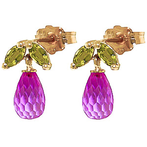 Pink Topaz and Peridot Snowdrop Stud Earrings 3.4ctw in 9ct Gold