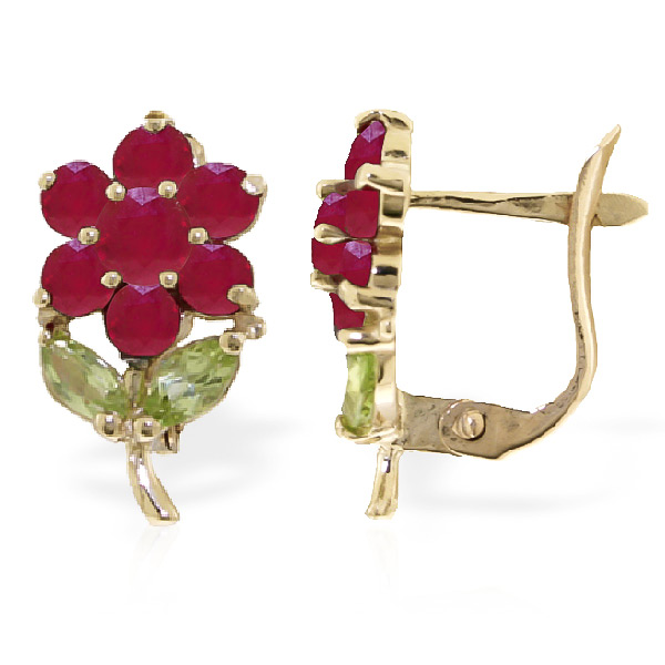 Ruby and Peridot Flower Petal Stud Earrings 2.12ctw in 9ct Gold
