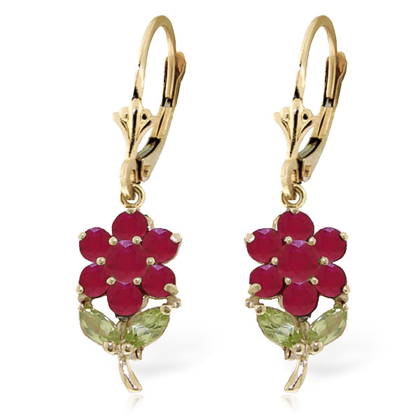 Ruby and Peridot Flower Petal Drop Earrings 2.12ctw in 9ct Gold