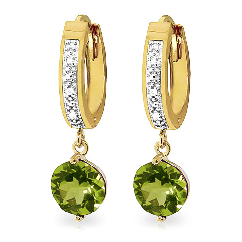 Diamond and Peridot Huggie Earrings in 9ct Gold