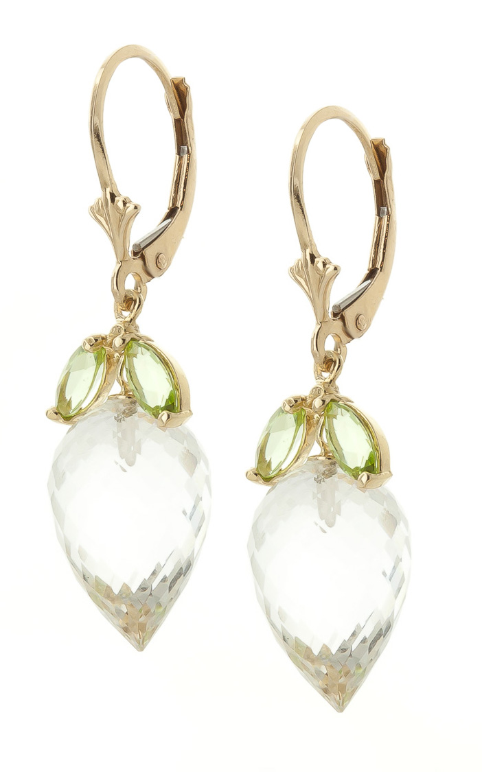White Topaz and Peridot Drop Earrings 25.5ctw in 9ct Gold