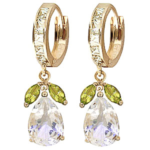 White Topaz and Peridot Huggie Drop Earrings 14.3ctw in 9ct Gold